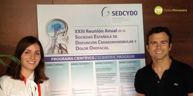 Los doctores Ester y David Manzanera en la reunión anual de la Sociedad española de dolor y disfunción craneo-facial, en la que se trató la relación de la ortodoncia y los problemas de la articulación mandibular.