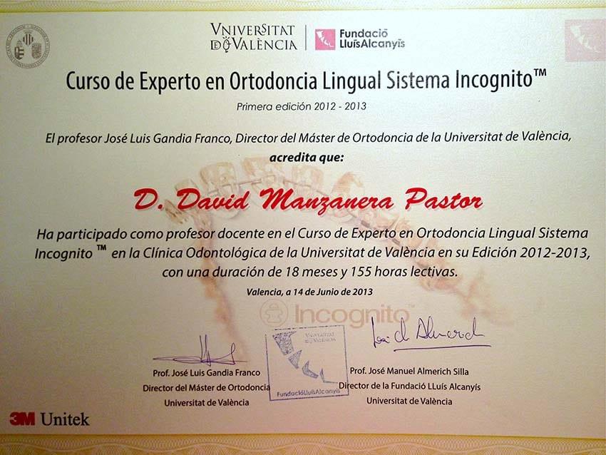 Titulo Ortodoncia lingual Incognito